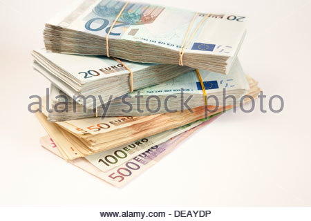 stack of euro banknotes - Stock Photo