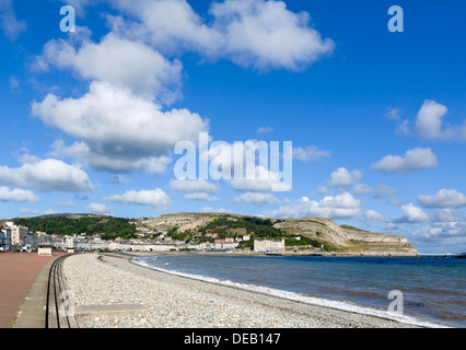 The beach and promenade looking towards The Great Orme, Llandudno, Conwy, North Wales, UK - Stock Photo