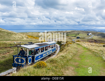 Upper section of The Great Orme Tramway looking down towards the town, The Great Orme, Llandudno, Conwy, North Wales, - Stock Photo
