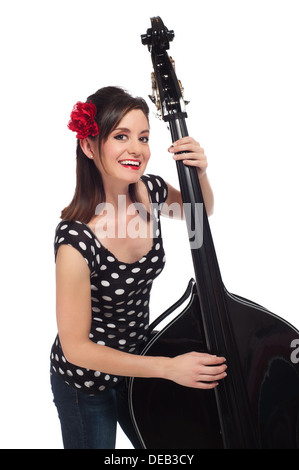Happy Rockabilly Girl Playing a Stand-Up Bass - Stock Photo