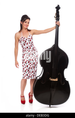 Beautiful Rockabilly Girl with Double Bass - Stock Photo