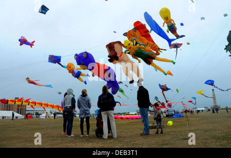 THE ANNUAL KITE FESTIVAL AT SOUTHSEA, HAMPSHIRE AUGUST 2013 - Stock Photo