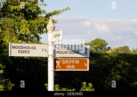 Sign Posts In The Village Of Swithland In Leicestershire - Stock Photo