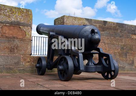 Canon on battlements at Carlisle Castle Carlisle Cumbria England United Kingdom - Stock Photo