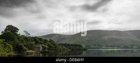 Ullswater, Boathouse, Reflection, Trees, Clouds, Calm Waters - Stock Photo