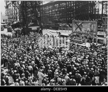 World War II bond rally , AJC Band, from Hamilt6on Field at US Navy Yard, Mare Island, Ca. 296895 - Stock Photo