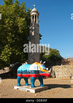 Rhinoceros sculpture Southampton Hampshire England UK part of the Marwell Zoo public art event held for 10 weeks - Stock Photo
