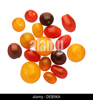 Cherry tomatoes isolated on white background, close up - Stock Photo
