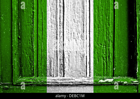 flag of nigeria painted on wooden frame - Stock Photo
