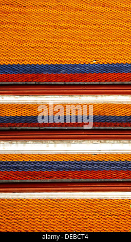 Roof tiles of a hall in the royal colors, Grand Palace, Bangkok, Thailand, Asia - Stock Photo