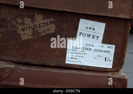 Severn Valley Railway, old suitcases on Kidderminster station - Stock Photo