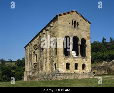 Pre-Romanesque Asturian architecture. Spain. Church of St Mary at Mount Naranco. Exterior view. Oviedo. Asturias. - Stock Photo