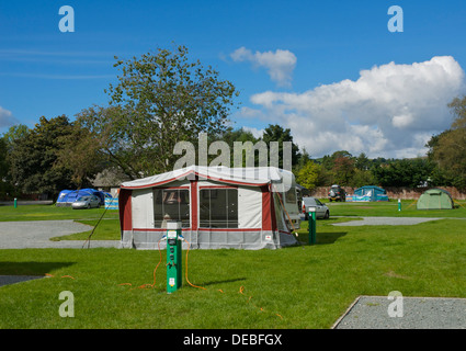 Tents at the Croft campsite in the village of Hawkshead, Lake District National Park, Cumbria, England UK - Stock Photo