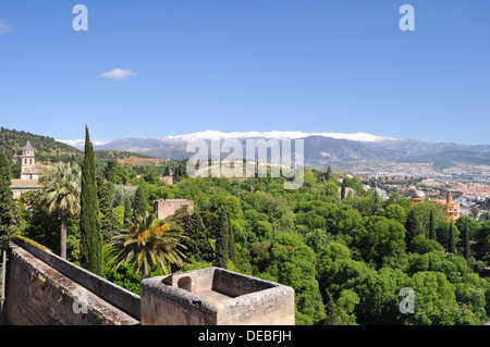 Granada, Spain. View on the town and mountains from Alhambra - Stock Photo