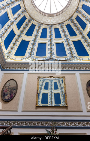 Domed ceiling above grand staircase in Shrigley Hall Hotel, Golf and Country Club, Pott Shrigley, Macclesfield, - Stock Photo