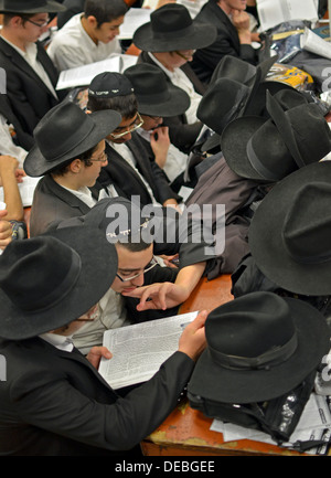 Orthodox Jewish boys studying and praying at Lubavitch headquarters in the Crown Heights section of  Brooklyn, New - Stock Photo