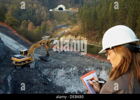 Site preparation for construction of concrete footings for viaduct, Works of the new railway platform in the Basque - Stock Photo