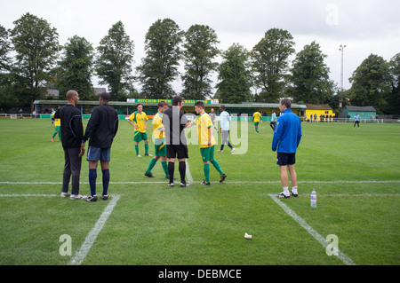 General View taken at Hitchin Town Football Club in North Hertfordshire, UK - Stock Photo