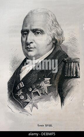 France, History, 19th Century, Louis XVIII Louis Stanislas Xavier de France, 17 November 1755 - 16 September 1824 - Stock Photo