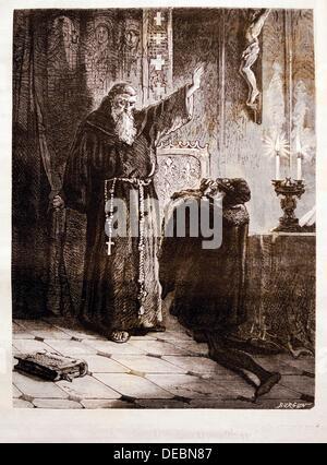 France-History- ´Louis XI aux pieds de saint François de Paul´: Louis XI 3 July 1423 – 30 August 1483, called the - Stock Photo