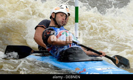 Prague, Czech Republic. 15th Sep, 2013. Czechs Jaroslav Volf and Ondrej Stepanek compete in the final of the men's - Stock Photo