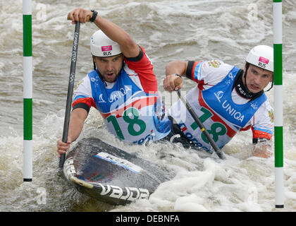 Prague, Czech Republic. 15th Sep, 2013. Russia´s Mikhail Kuznetsov and Dmitry Larionov compete in the final of the - Stock Photo