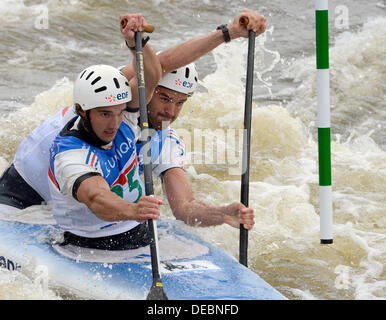 Prague, Czech Republic. 15th Sep, 2013. France´s Pierre Picco and Hugo Biso compete in the final of the men's C2 - Stock Photo