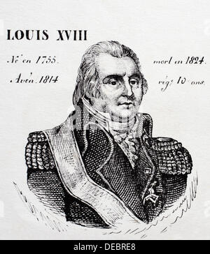 Louis XVIII, king of France from 1814 to 1824. History of France, by  J.Henry (Paris, 1842) - Stock Photo