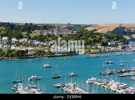 Dartmouth Devon and River Dart harbour with boats and yachts and Naval college in this English coast town with blue - Stock Photo