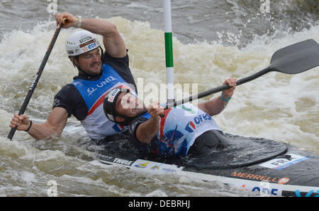 Prague, Czech Republic. 15th Sep, 2013. France´s Pierre Labarelle and Nicolas Peschier compete in the final of the - Stock Photo