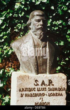 Bust of Archiduque Luis Salvador de Habsburgo, at the Juan Carlos I Gardens, beside La Cartuja. Valldemossa. Majorca. - Stock Photo