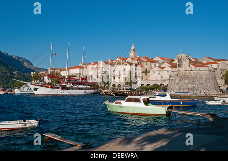 View of the Old Town, Korcula, Croatia - Stock Photo
