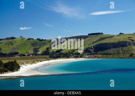 Otago Harbour entrance, and Aramoana Beach, Dunedin, Otago, South Island, New Zealand - Stock Photo