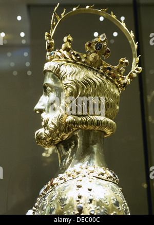 Charlemagne (742-814). Reliquary bust. Made from silver and gold decorated with antique gems and cameos. - Stock Photo