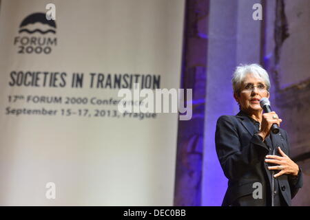 Prague, Czech Republic. 15th Sep, 2013. U.S. singer Joan Baez speaks at the opening of the 17th conference Forum - Stock Photo