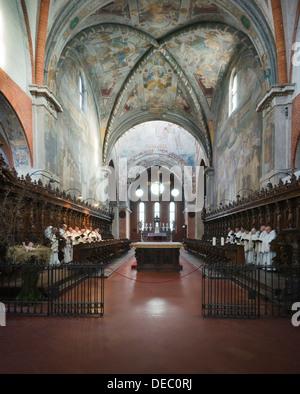 Cistercian monks in prayer in the Gothic Chiaravalle Abbey, Abbazia Chiaravalle Milanese, Rogoredo, Milan, Lombardy, Italy
