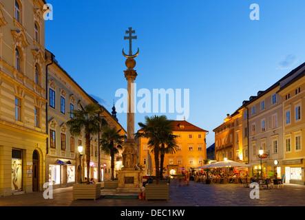 Holy Trinity Column or Plague Column, Alter Platz square, historic center, Klagenfurt, Carinthia, Austria - Stock Photo