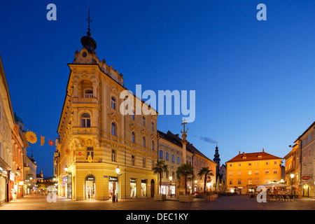 Alter Platz square, dusk, historic center, Klagenfurt, Carinthia, Austria - Stock Photo