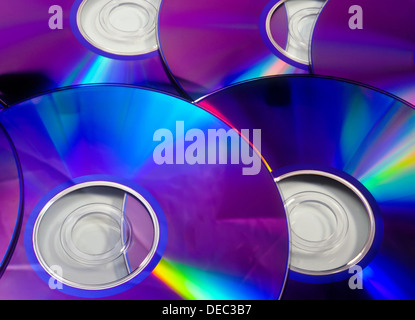 Colorful rainbow background made from DVD disks - Stock Photo