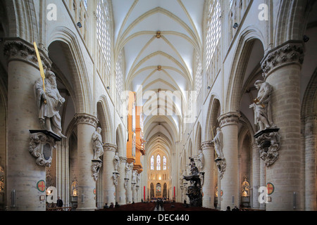 Nave, Cathedral of St. Michael and St. Gudula, Brussels, Brussels Region, Belgium - Stock Photo