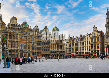 Guild houses on Grand Place or Grote Markt square, Brussels, Brussels Region, Belgium - Stock Photo