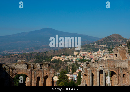 A view of the Greek Theatre, Mount Etna and Taormina in Sicily, Italy