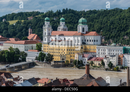 St. Stephen's Cathedral with the Inn River during high waters, Passau, Lower Bavaria, Bavaria, Germany - Stock Photo