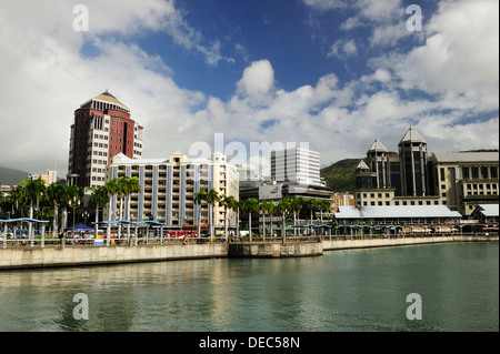 Cityscape of Port Louis, from the water, Port Louis, Mauritius - Stock Photo
