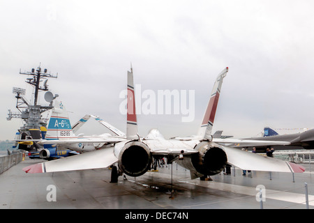 Grumman F-14 Tomcat at the Intrepid Sea, Air & Space Museum - Stock Photo