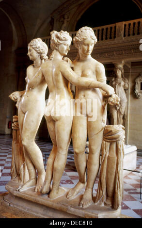 The Three Graces at Louvre Museum, Paris. France - Stock Photo
