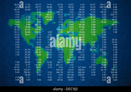 WORLD MAP AND SHARES LIST - Stock Photo