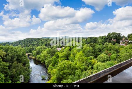 View over River Dee valley from Pontcysyllte Aqueduct carrying the Llangollen Canal, near Llangollen, Denbighshire, - Stock Photo
