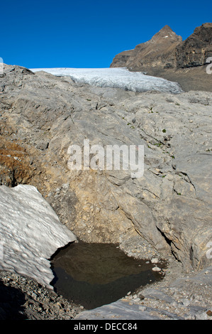 Water-filled sinkhole in the karst landscape of the Tsanfleuron Glacier at Mt Oldenhorn, Bernese Alps, Valais, Switzerland - Stock Photo