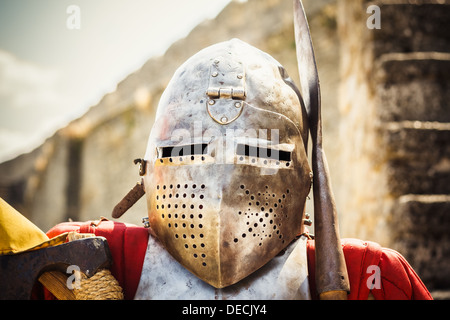 Medieval Knight On Grey Background Portrait Of Brutal